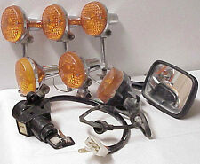 VINTAGE MOTORCYCLE PARTS MIRROR IGNITION SWITCH & STANLEY 71 JAPAN SIGNAL LIGHTS