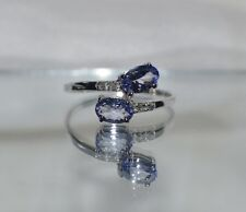 GLAMOROUS .84ct. NATURAL TANZANITE & GENUINE   DIAMOND  10K WHITE GOLD RING