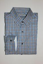 NWT $395 ERMENEGILDO ZEGNA DRESS SHIRT,PLAID, COTTON