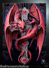ANNE STOKES BLACK FRAMED GOTHIC GUARDIAN DRAGON - 3D PICTURE 300mm x 400mm