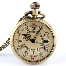 Mens Antique Bronze Glass Design Mechanical Steampunk Chain Pendant Pocket Watch
