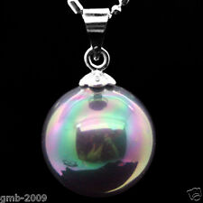 "14mm black  South Sea Shell pearl Round pendant necklace 17""AAA Grade"