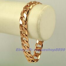 "8.3""12mm34g REAL MEN 18K ROSE GOLD GP CURB BRACELET SOLID FILL GEP CHAIN LINK"