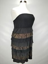 LANE BRYANT WOMEN'S BLACK BRONZE W/ LACE TIERED STRAPLESS DRESS PLUS Sz 14/16