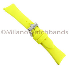 22mm Glam Rock High Quality Bright Yellow Soft Silicone Curved End Watch Band