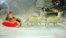 VINTAGE CELLULOID SANTA/SLEIGH, REINDEER, METAL HARNESS, JAPAN