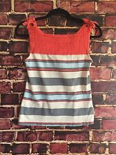 Postmark Anthropologie Women's Sz XS Orange White Blue Striped Sleeveless Blouse