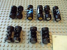 Lego Minifig ~ Mixed Lot Of Wheels With Tires & Axles Set Car truck Rim/Hub #5rt