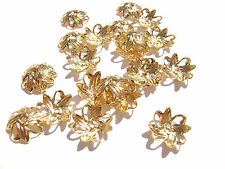 6014FN Bead Cap, Gold ptd Brass, Leaf, 10mm, for 8-10mm bead, 100 Qty