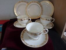 "WEDGWOOD ENGLISH BONE CHINA ""WHITEHALL""  GOLD,  STUNNING NINE PIECE TEA SET"
