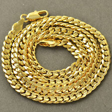 Fashion Yellow Gold Filled Cuban Curb lucky Mens Chain Necklace Free Shipping