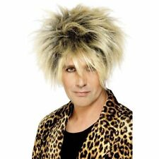 Mens 80's Wild Boy Wig Fancy Dress Star Rocker Long Blonde Short Glam Rock Messy