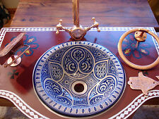 Moroccan small blue hand painted ceramic round sink wash basin