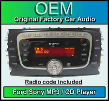 FORD FOCUS CD MP3 PLAYER, FORD SONY STEREO AUTO unità di testa con codice RADIO