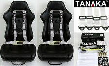 2 X TANAKA UNIVERSAL GRAY GREY 4 POINT BUCKLE RACING SEAT BELT HARNESS