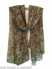 Vintage Ditsy Floral Olive Green Cream Oversize Pashmina Scarf Wrap Shawl Snood