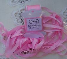 """100%SILK EMBROIDERY RIBBON 1/4""""[7MM]  PINK COLOR # 544  5 YDS"""