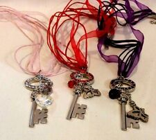 Lot of 3 Beautiful  Multi-Color Crystal Rhinestone KEY Charm Necklace