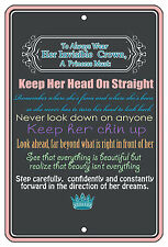 "8""x12"" METAL SIGN - Princess 1 Girls Crown Rules Door Bedroom Room Queen"
