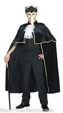 Mens Ladies Black Venetian Cape Carnival Halloween Velvet Fancy Dress Costume
