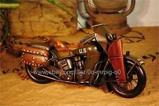 Handmade 1942 WLA Model Motorcycle 1:12 Tinplate Antique Style Metal Model