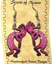 Kokopelli Earrings Enameled Pink Lightweight New FREE SHIPPING #K2