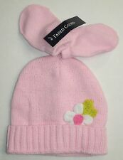 Baby Girls Faded Glory hat and mittens crocheted flower pink one size fits all