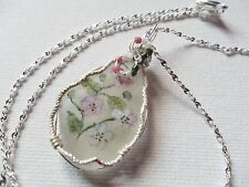 "Bramble blossom wildflower necklace painted english sea glass 18"" silver chain"
