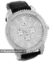 mens diamond big silver tone ice time business clubbing watch 2 leather warranty