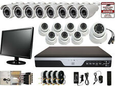 16 Channel H.264 720P DVR 800TVL Dome Bullet Security Camera System LCD Monitor