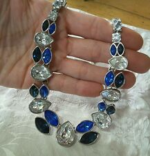 80's VINTAGE YVES SAINT LAURENT NECKLACE faceted CRYSTAL BLUE designer signed