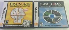 2 Nintendo DS Game, Lot of 2, Brain Age (not sealed) & Flash Focus (sealed)