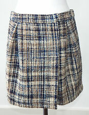 Miu Miu Amazing Tweed Ochre Black White Wrap Skirt Sz - 42