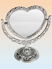 Vintage Style Table Top Cosmetic Mirror Plastic Double sided Heart Shape 76/3220