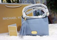 NWT Michael Kors BEDFORD Crossbody Tassel PALE BLUE/GOLD Pebbled Leather $168.00