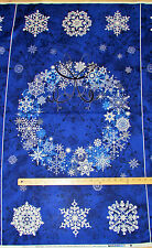 "Stonehenge Starry Night Blu Christmas Wreath Northcott Fabric Panel  23""  20341"
