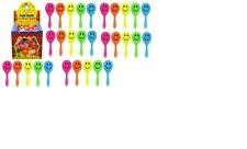 12 x mini smiley maracas- Great party bag fillers Brand NEW 7cm