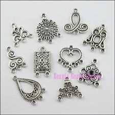 40Pcs Mixed Tibetan Silver Tone Mixed Charms Pendants Connectors