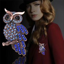 Fashion Women Bridal Owl Gold Plated Pin Blue Crystal Rhinestone Wedding Brooch