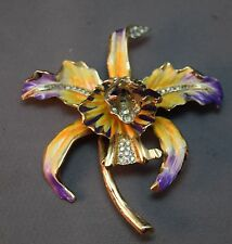 BREATHTAKING Coro Craft Sterling Enameled Wild Orchid Vintage Brooch!