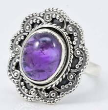 NATURAL AMETHYST GEMSTONE RING SOLID 925 STERLING SILVER JEWELRY SIZE 6 IR21522