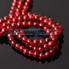 New 100pcs 6mm Round Crystal Glass Loose Spacer Beads Jewelry Findings Red