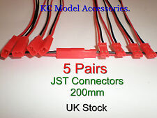JST Connectors 5 Pair Lipo Battery Charger Cable & Wire 200mm