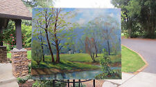 summer landscape, reflection into riverbed 1960'S 30 X 24 oil on canvas/Signed