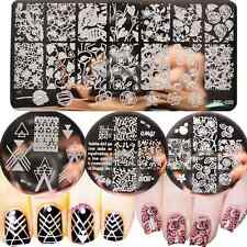 4Pcs/Set Born Pretty Nail Art Stamp Image Plates Geometry Leaves Templates Decor