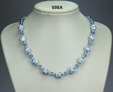Blue & white flower porcelain bead necklace, blue / lilac crystals, silver balls