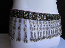Women Silver Blue Beads Metal Chains Moroccan Fashion Belt Low Hip Dancing M