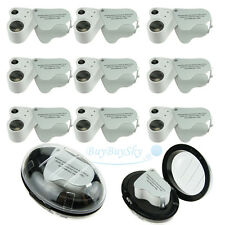 10lot 2 in1 60X 30X Magnifier Loop Magnifying Glass Jeweler Eye Loupe LED Light