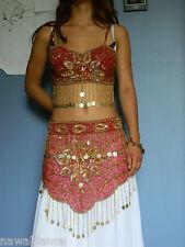 SET TOP + CINTURA DANZA DEL VENTRE rosso mat belly dance costume danza orientale