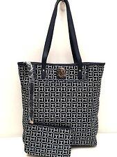 Tommy Hilfiger Handbag long Tote Navy Blue White Shopper Shoulder Bag $99 New